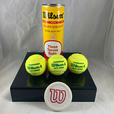Wilson Championship Optic Yellow Wool Vtg Tennis Balls In Metal Can W/ Cap Rare