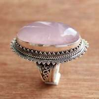 Solid 925 Sterling Silver Handmade Natural Rose Quartz Gemstone Ring Jewelry S17