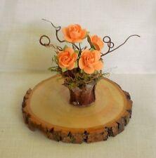 Fairy Garden Miniature ORANGE CORAL ROSES /Pinecone Flower POT ASH WOOD STUMP