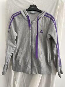 ADIDAS Grey Full Zip Hoodie Size UK 12