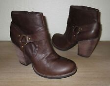 Women's KORKS Work-Ease Farah Brown Leather Harness Side Zip Ankle Boots 9.5/41