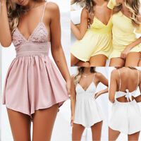 Women Summer Boho Backless Mini Dress Evening Party Cocktail Beach Sundress AU