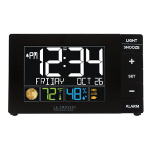 Color Alarm Clock With Indoor Temperature & Humidity And Usb Charge Port