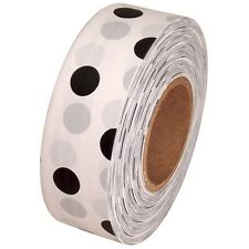 White / Black Polka Dot Flagging Marking Tape 1 3/16 in x 300 ft Non-Adhesive