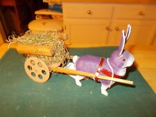 EARLY 1900S GERMAN COMPOSITION RABBIT PULLING WOODEN CART CANDY CONTAINER