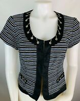White House Black Market 8 Women's Blazer Short Sleeve Tweed Striped Zip Detail