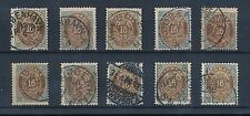 DENMARK 1875-1900 16 ore FINE USED 10 stamps