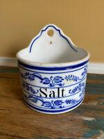 Vintage Blue & White Wall Salt Crock