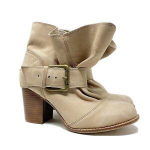 SPLENDID Size 8 Long Beach beige Nubuck Leather Ankle Boots slouchy buckle