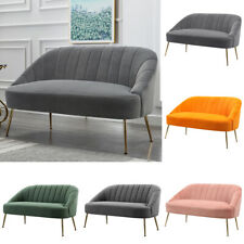 Nordic Compact 1/2 Seater Sofa Oyster Armchair Loveseat Couch Settee Golden Legs