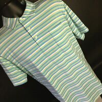 Peter Millar Mountainside Collection Green Blue White Striped Polo Shirt Size S