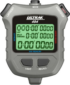 Ultrak 494 - 300 Dual Split Memory Stopwatch with Electro Luminescent Display