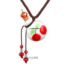 Round Cherry oil ashes urn bottle cork White Glass pendant vial Necklace New