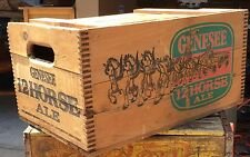 Vintage GENESEE 12 HORSE ALE Beer Wooden WOOD CRATE box WITH LID