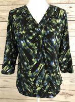 JM Collection Blouse Size M Black Yellow Blue V-Neck 3/4 Sleeve