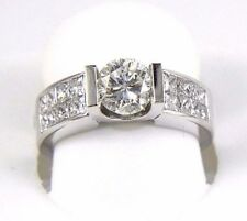 Natural Round Diamond Solitaire Ring W/ Princess Accents 14k White Gold 2.03Ct
