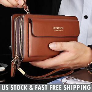 Mens Leather Zipper Long Wallet Phone Business Bag Card Checkbook Clutch Handbag