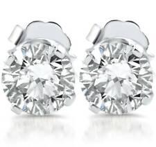 E/Si Tachas 1ct Diamante 14k Ouro Branco clareza Reforçada