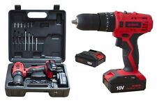HEAVY DUTY 18V LITHIUM LION CORDLESS HAMMER DRILL DRIVER SCREWDRIVER 2 BATTERIES