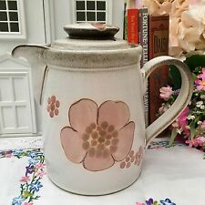 DENBY 1970s GYPSY STONEWARE 2 1/4pt LARGE COFFEE WATER POT ABSTRACT PINK FLORAL
