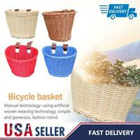 Bicycle Basket For Girls Women Hand-Woven Natural Wicker Bike Handlebar Front