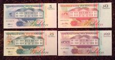 Lot Of 4 X Suriname Banknotes. 5, 10, 25, 100 Gulden. Uncirculated.