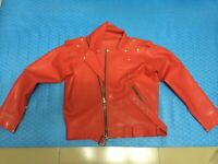 Latex Catsuits Rubber Wear Women's Jacket Cool Red Front Zipper Customized 0.6mm