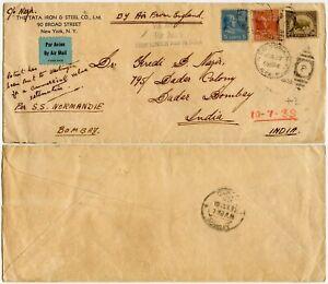 AIRMAIL USA GB + INDIA via SHIP SS NORMANDIE TATA IRON + STEEL PATENT 1939