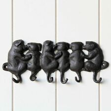 Cast Iron Piggy Key Holder With 6 Hooks Coat Hat Wall Hanging
