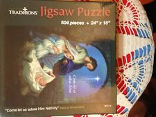 """CHRISTMAS """"COME LET Us Adore Him Nativity"""" JIGSAW PUZZLE* 24"""" X 18"""" BOXED NEW*"""