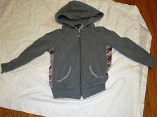 Bebe Sport Zip front Hoodie Jacket Ladies Size M Grey Hooded 3/4 Sleeves Pink