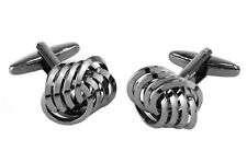 Linked Loops Cufflinks (Gunmetal Grey) in gift Box