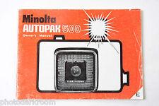 Minolta Autopak 500 Film Camera Manual Instruction Book - English - Used B17