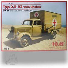 ICM 1/35 WWII GERMAN AMBULANCE TRUCK TYP2-32 W/ SHELTER