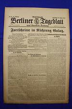 BERLINER TAGEBLATT (13.1.1917): Fortschritte in Richtung Galatz