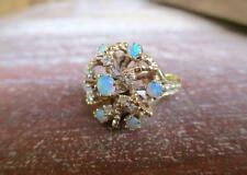 ANTIQUE 14 KT YELLOW GOLD 0.20 CTW DIAMOND & OPAL CLUSTER RING SIZE 5.25