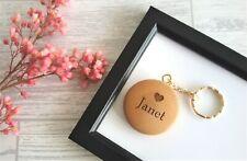 Personalised Round Wooden Keyrings / Custom Engraved Keyrings / Name and Initial