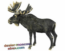 Bronze Solid Brass Figurine Animals Big Siberian Moose Elk IronWork Statuette