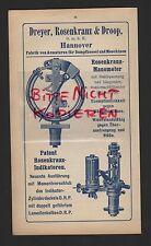 Hannover, publicidad 1915, dreyer, Rosario & Droop GmbH grifería-fábrica