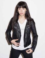Rare Women's Converse Black Leather Biker Jacket Medium Crinkled Motorcycle Coat
