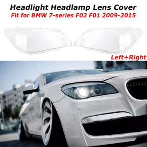 2x Headlight Lens Headlamp Cover Set For BMW F02 740 750 760 i Li F01 2009-2015