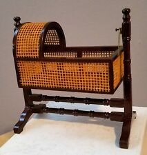 DOLLHOUSE MINIATURE WOODEN BABY ROCKING CRADLE 1:12