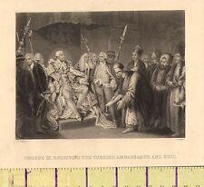 C1860 Vittoriano stampa ~ George III ricezione dell' ambasciatore turco & Suit