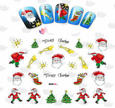 Nail Art Stickers Water Decals Transfers Santa Christmas Trees (BLE2325)
