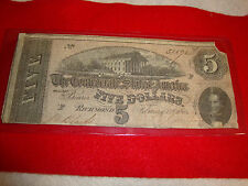Civil War Confederate States of America Five Dollar Note February 17,1864, 31392