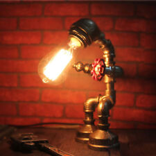 Industrial Water Pipe Steampunk Robot Table Desk Lamp Study Office Bedroom Light