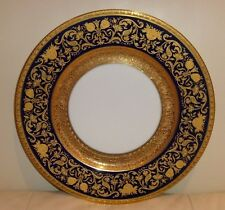 ANTIQUE 1901 COBALT BLUE & GOLD HUTSCHENREUTHER HOHENBERG BAVARIA DINNER PLATE