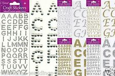 Self Adhesive Glitter Diamante Alphabet Letters Stickers Rose Gold Silver Gems