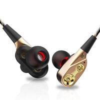 7D HIFI In-Ear Earphone Dual Dynamaic Driver Headphone Stereo Bass Headset W/Mic