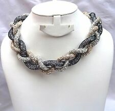 Mix Braided Crysta Swarovski Element Stardust Necklace Choker Magnetic closure